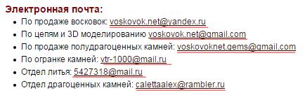 Оформление ссылок на почту