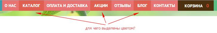 Выделение ссылок в меню