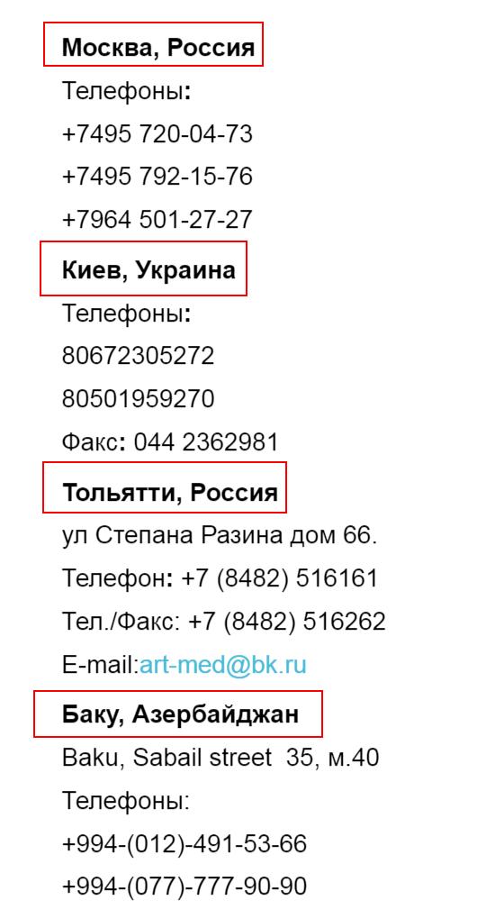 Адреса представительств