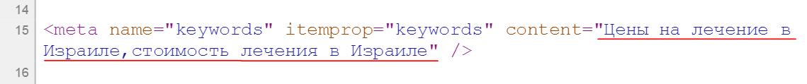 Ошибки заполнения keywords