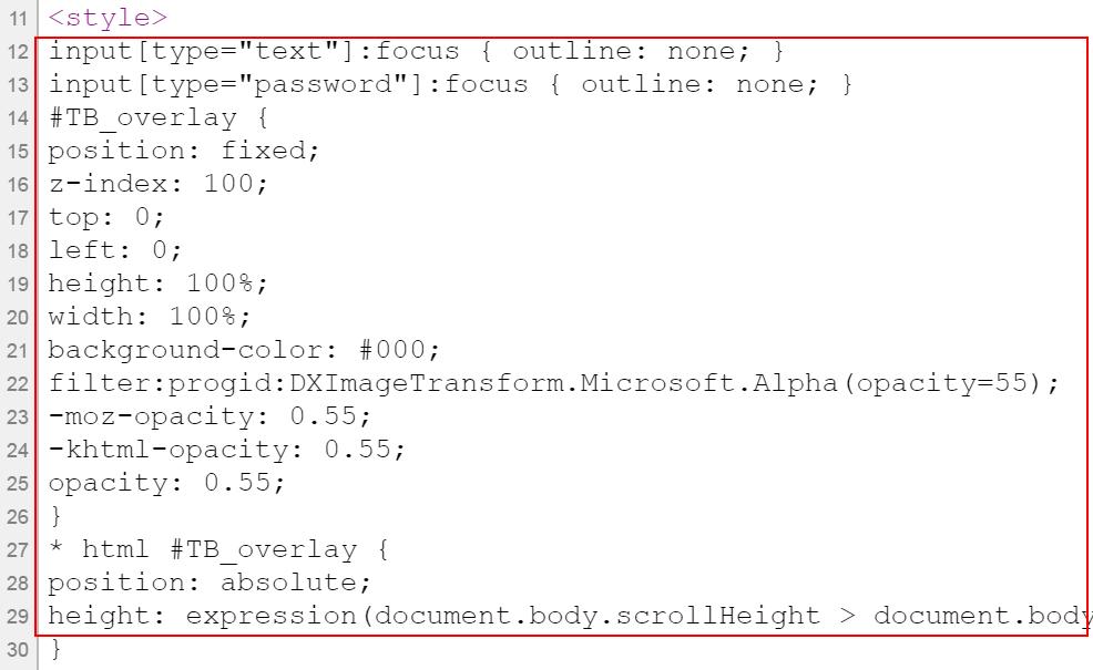 Стили оформления находятся внутри HTML кода сайта