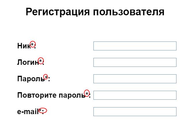 Ошибки в форме регистрации
