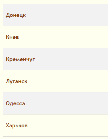 Юзабилити списка городов