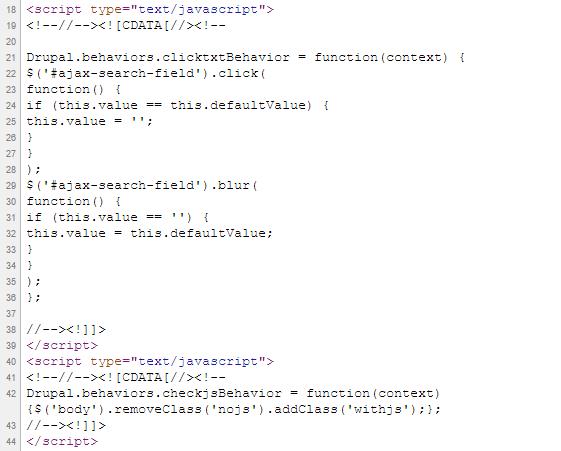 HTML код страниц содержит большие блоки JS-скриптов