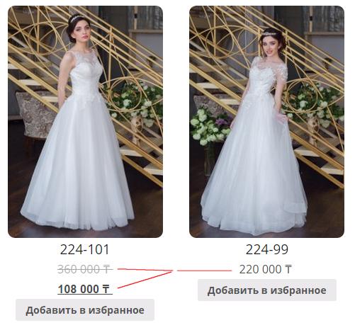 Юзабилити блока цен платьев